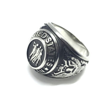 Stainless Steel United States Veterans Ring