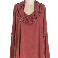 ModCloth Mid-length Long Sleeve At Your Beck and Cowl Top in Red