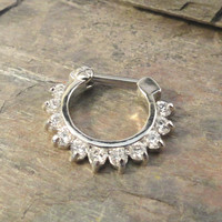 16 Gauge Sparkly Crystal Septum Ring Clicker Daith Ring Nose Piercing
