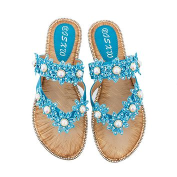 Fashionable new style female cool drag outside summer wear pearl flower flat bottom female shoe casual joker large size flip-flops Blue