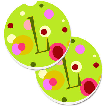 Letter L Monogram - Lime Green Set of 2 Cup Holder Car Coasters CJ1010-LCARC