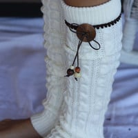 Legwarmers - Boho,  Knitted,  Ivory, Leather Bow, Wood Buttons, Brown lace, Boot Cover, Socks, Crochet, Lace Trim, Christmas Gift,