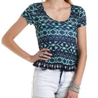 Geometric Print Tee with Tassels by Charlotte Russe