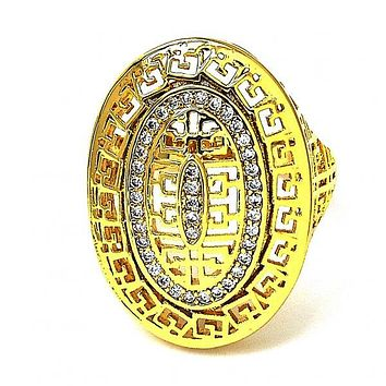 Gold Layered Mult-stone Ring, Greek Key Design, with Micro Pave, Gold Tone