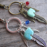 Native Roots Keychain, SILVER or BRONZE Zuni Bear Zipper Pull, Feather Keychain, Personalized Accessory, Southwestern, Turquoise Magnesite