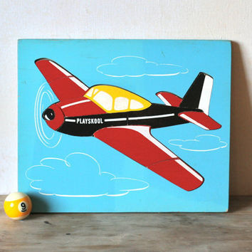 Vintage Playskool Airplane Wooden Puzzle by ivorybird on Etsy