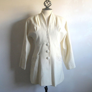 Vintage 1980s Embroidered Blazer Emmauelle Khanh Paris Cream Wool Beaded Tucked Waist Jacket 38 US8