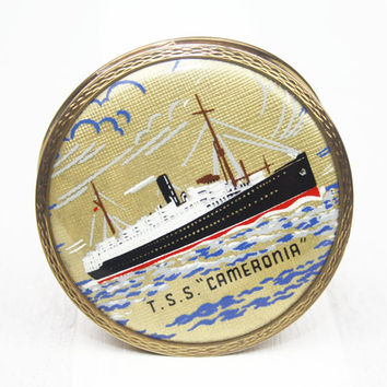 Powder Compact, Stratton Compact, Handheld Mirror, Boat, Sailing, Historical, Pocket Mirror, Old Fashioned Compact, Something Old - 1950's