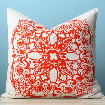Orange Moroccan Linen Pillow Cover Decorative Cushion Throw 18x18 Screen Print Pillow Art Modern Global Inspired
