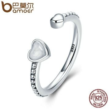 BAMOER 100% 925 Sterling Silver Double Hearts Of Love, Silver Enamel Open Finger Rings for Women Engagement Jewelry PA7630