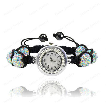 Crystal Watch Jewelry 10mm Crystal AB Clay Disco Ball Crystal Bracelet Watch Bracelet Bangle Mix Colors Turquoise