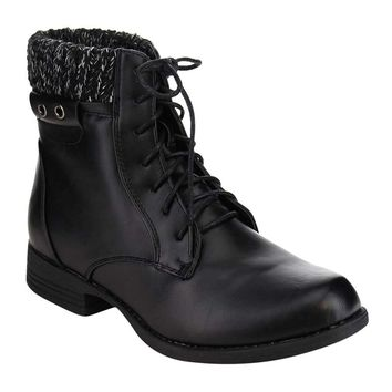 Women's Sweater Cuff Lace Up Ankle Combat Booties Vegan Leather