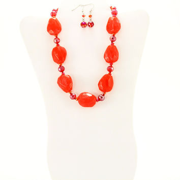 Rhodium Red Iridescent Gemstone Necklace Set