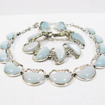 Vintage Signed Coro Full Parure - Light Blue Thermoset Moonglow Necklace, Bracelet and Earrings - Silver Tone - Christmas Gift