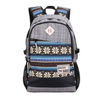Herebuy - Tribal-print Daypack: Best Backpacks for College Girls and Boys (Grey)