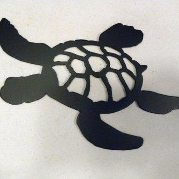 Turtle Swimming Silhouette Black Metal Wall Art