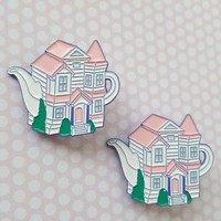 SECONDS SALE Victorian Teapot Enamel PIn