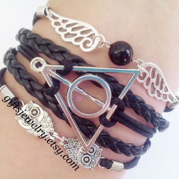 Harry Potter Deathly Hallows Bracelet,harry potter jewelry,Wings Bracelet,Owls Bracelet,Braided Leather,Friendship gift,Black,Personalized