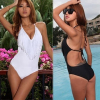 Sexy Ladies Womens Tassels Swimsuit Bathing Suit Beach One Piece Swimwear Black And White = 1945862852