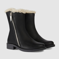 Gucci Children's leather shearling boot