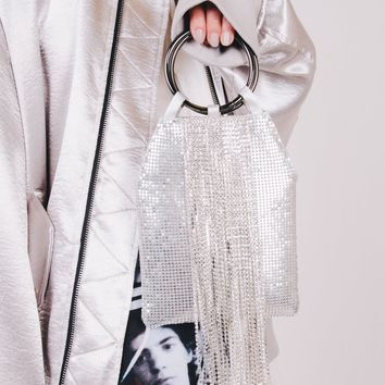 Diamond Tassel Small Handbag | Silver