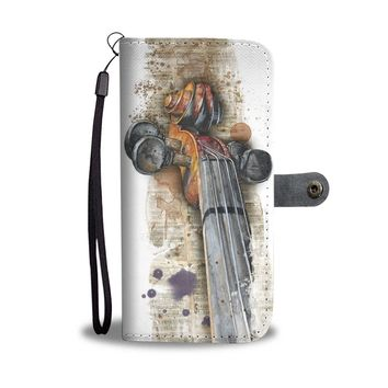 KUYOU Violin And Stained Music Tabs Wallet Phone Case
