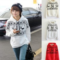 Fawn Hooded Fleece Sweater -White