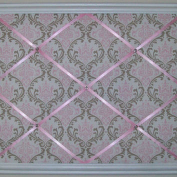 Pink & Taupe Damask Print fabric - Wooden Framed French Memo Board by ToileChicBoutique
