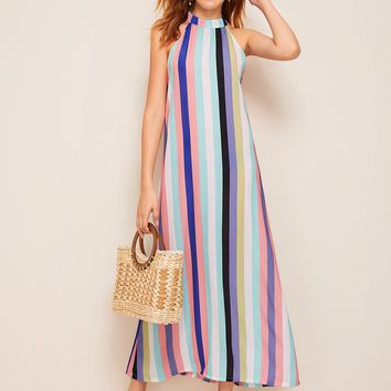 Button Keyhole Colorful Striped Halter Dress
