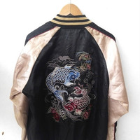 ON SALE 25% Vintage Sukajan 80's Japanese Fish Koi Toyo Embroidery Souvenirs Satin Varsity Jacket