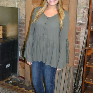 Lace Trimmed Bell Sleeve Top: Olive