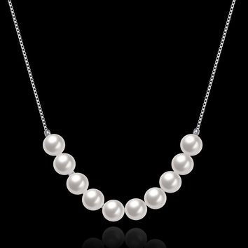 Sterling Silver 10 Pearl Fashion Jewelry Necklace