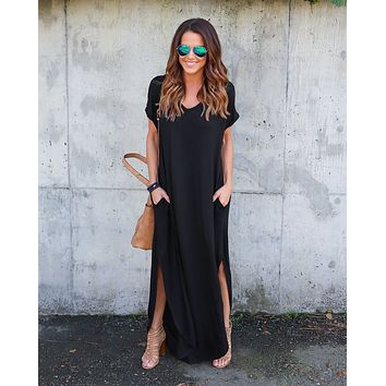 Loose V Neck Short Sleeve Solid Color Split Long Maxi Dress
