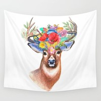 Watercolor Fairytale Stag With Crown Of Flowers Wall Tapestry by Art Gallery