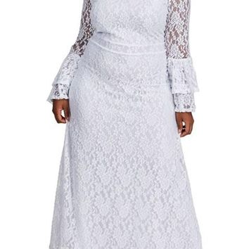 Plus Size White Bell Sleeve Maxi Lace Bridesmaid Dress