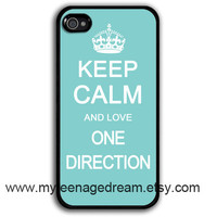 iphone 4 Case, iphone 4s case, iPhone 4 Hard Case, Keep Calm and love one direction print black iPhone Case