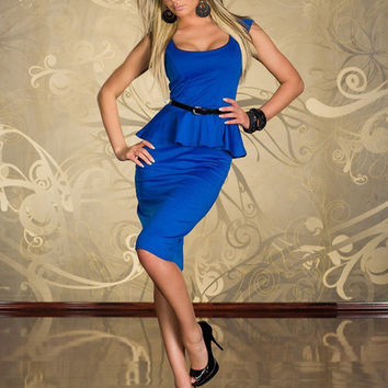 Blue Cap Sleeve Peplum Midi Dress