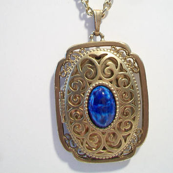 Vintage Ornate Avon Locket Pendant Necklace Lapis Filigree Signed Costume Jewelry Wedding Bride