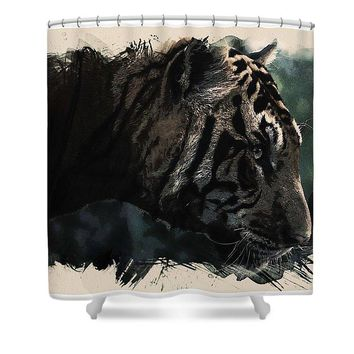 Watercolor Portrait Of Bengal Tiger - Shower Curtain