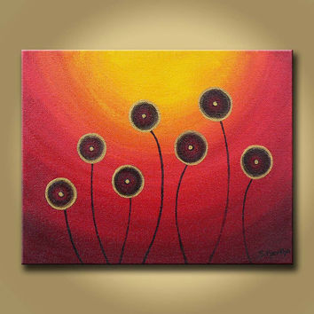 Sunset landscape Modern flower original contemporary abstract acrylic painting Gallery Canvas- Yellow, Orange, red, gold Home wall Art