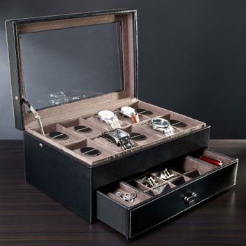 Treviso Leather Valet Box and Ten Watch Display Case (Engravable)
