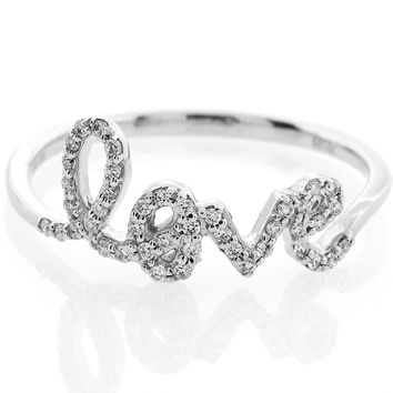 "Diamond Cursive ""love"" Ring in 14K White Gold"