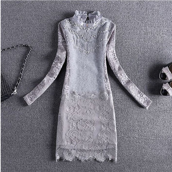Elegant look Slim Lace dress long top spring Women spring autumn  round neck long sleeve lace long top dress
