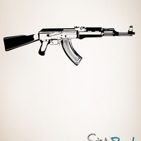 Vinyl Wall Decal Sticker AK-47 Weapon #JH265