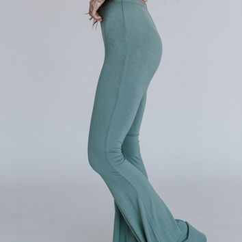 Cher Solid Flare Pants - Sage