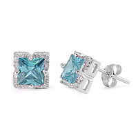 Sterling Silver Halo Princess Cut Simulated Aquamarine CZ 8MM Earrings