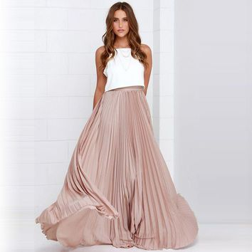Pretty Pink Pleated Chiffon Long Skirts For Fashion Women Floor Length Maxi Skirt Zipper Style High Quality Women Clothing