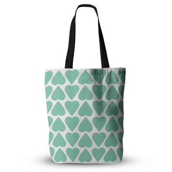 """Project M """"Mint Up and Down Hearts"""" Everything Tote Bag"""