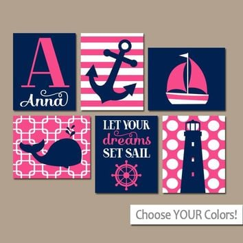 Girl Nautical Wall Art, CANVAS or Prints, Ocean Baby Nursery Decor, Coastal Pink Bedroom Pictures, Whale Anchor Sailboat Set of 6 Set Sail