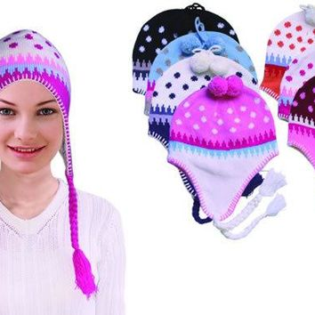 Knitted Ladies Flap Hats - Assorted Colors - CASE OF 144